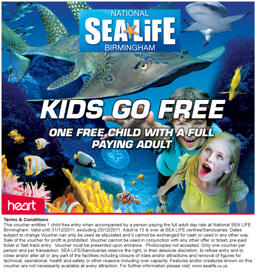 • This voucher is valid at the National SEA LIFE Centre Birmingham (CHECK OPENING DATES/TIMES ON THE ATTRACTION WEBSITES) • Exclusions: this .
