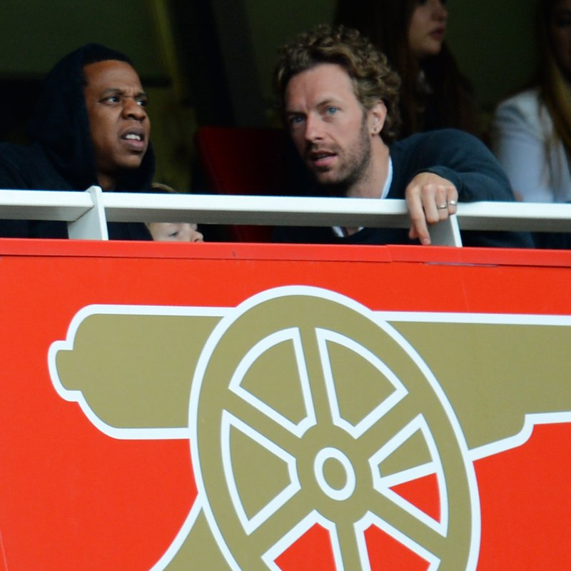 Jay Z and Chris Martin Supporting Arsenal FC