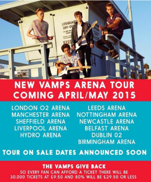 The Vamps Reveal New Dates On Their UK Arena Tour For Spring 2015