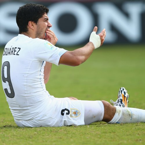 Luis Suarez after clash with Italy at world cup.