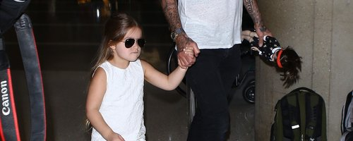 Harper and David Beckham returning from NY Fashion