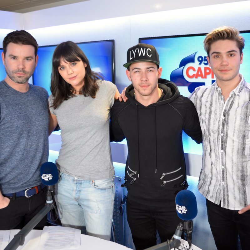 Nick Jonas, Dave Berry, George Shelley and Lilah Parsons on Capital Breakfast