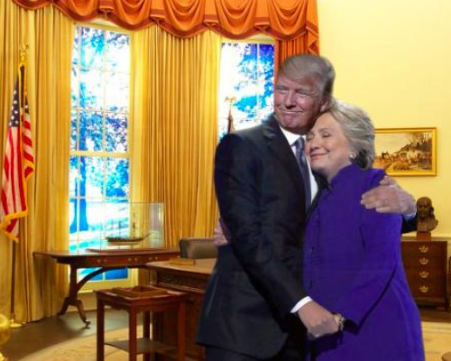 Image result for DONALD HUGGING HILLARY