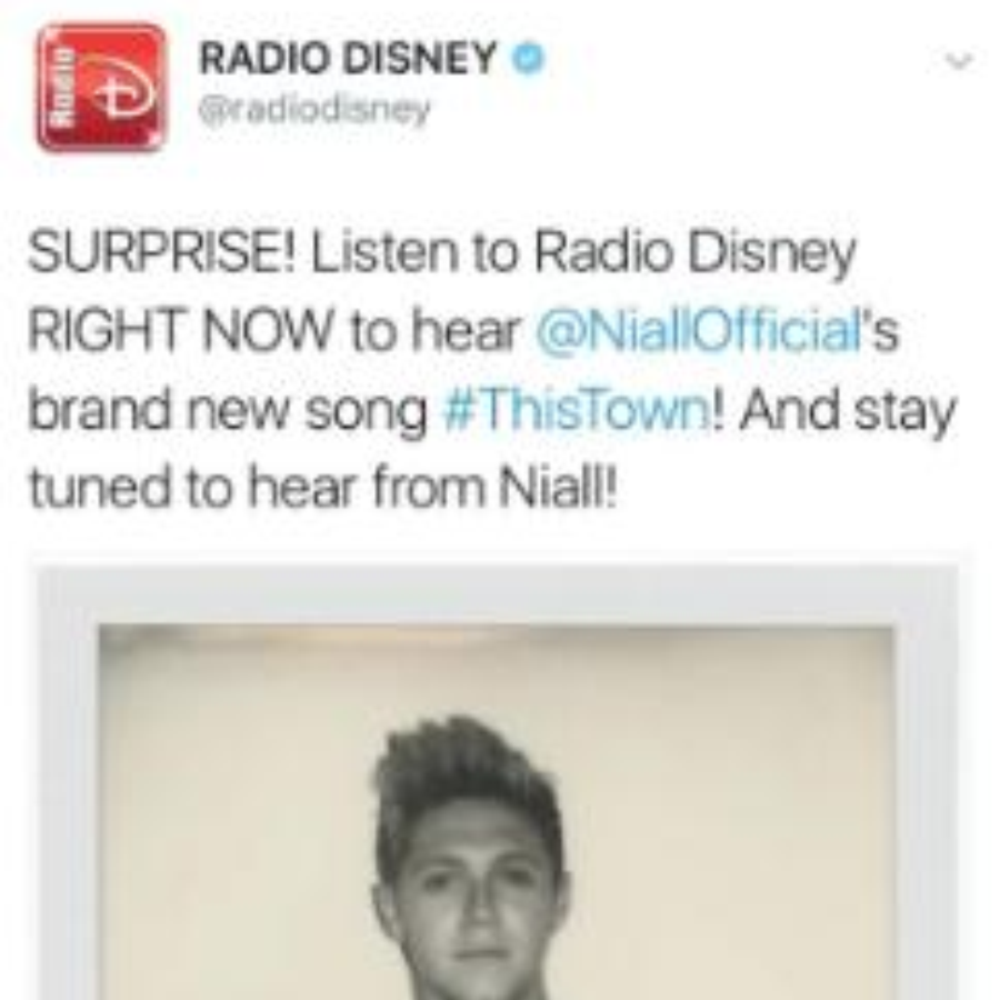 Niall Horan Radio Disney Solo Tweet