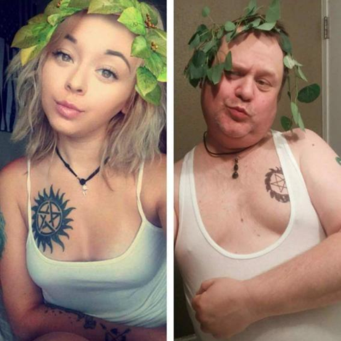 dad copies daughters instagram