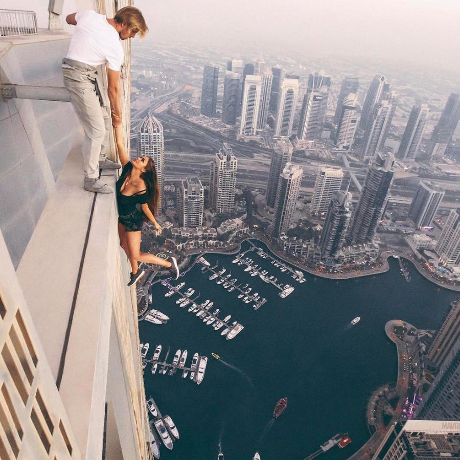Russian Instagram model Viktoria Odintsova dices with death dangling off Dubai tower