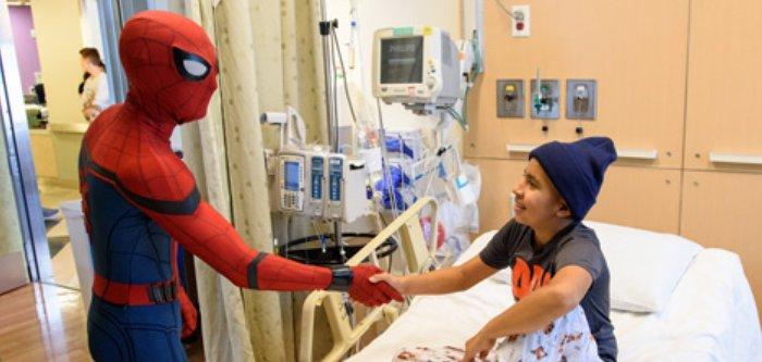 spiderman tom holland visits fans in hospital