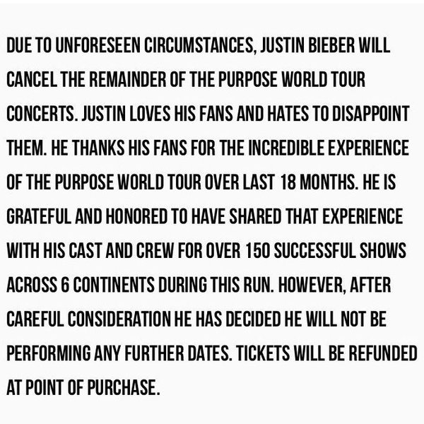Justin Bieber Canceled His 'Purpose' World Tour And Fans Are Heartbroken